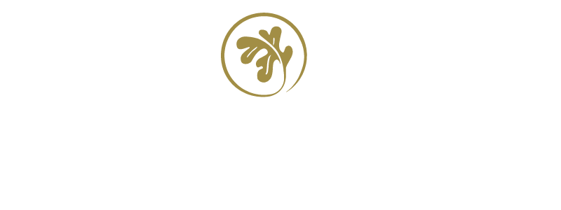 hotel mead logo - white lettering with gold leaf emblem